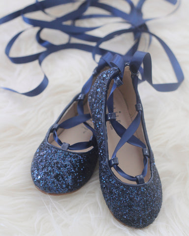 NAVY ROCK GLITTER ballerina flats with satin ribbon lace up