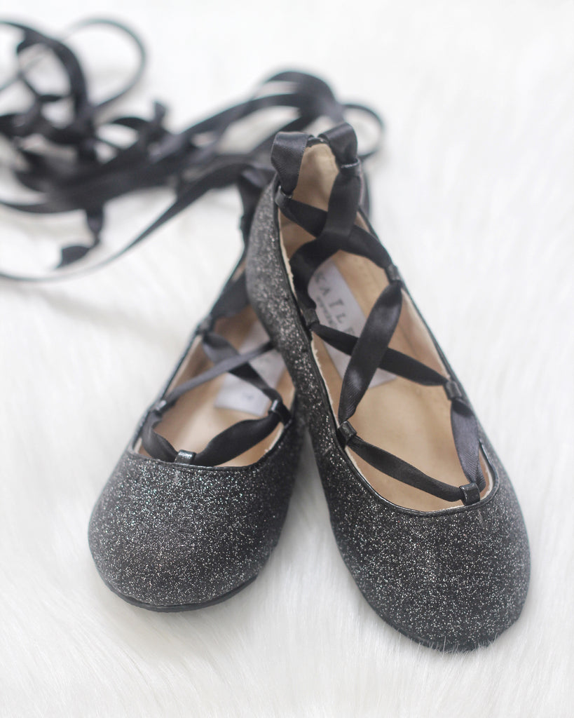 Infant & Toddler girl shoes - BLACK fine glitter ballerina flats with satin ribbon lace up ,Kids Shoes- Kailee P