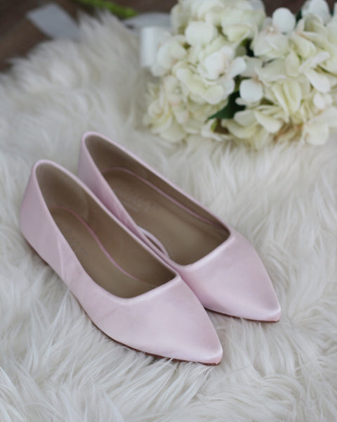 PINK Satin Pointy Toe Flats