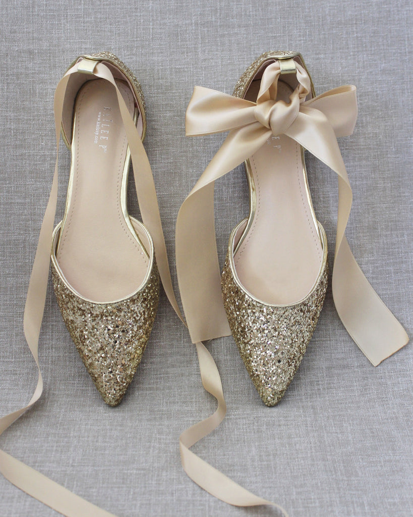 GOLD Rock Glitter Pointy Toe Flats with Satin Ankle Tie or Ballerina Lace Up