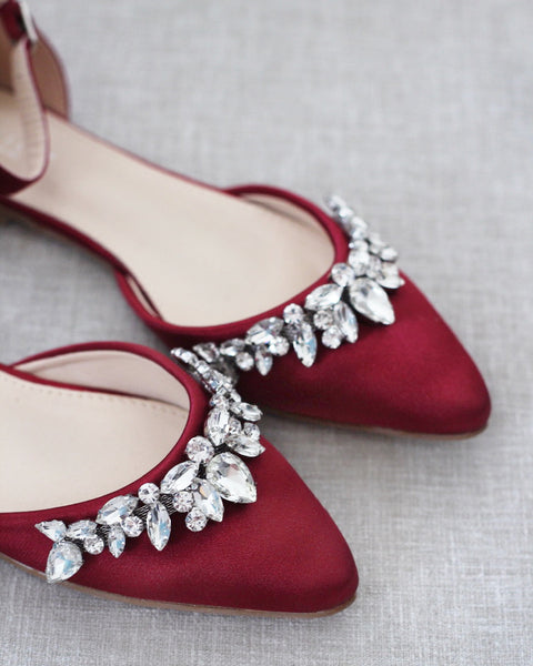 BURGUNDY Satin Pointy Toe Flats with TEARDROP RHINESTONES Embellishments