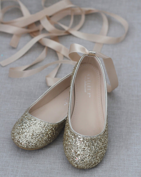 GOLD Rock Glitter Ballet Flats With Satin Ankle Strap