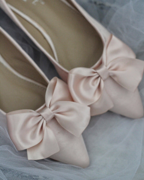 BLUSH Satin Pointy Toe Flats with Oversized Bow