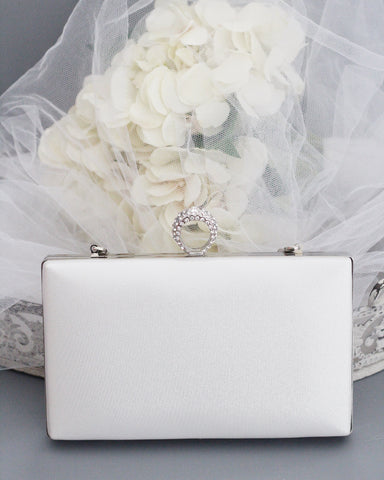 White Shimmer Box Clutch