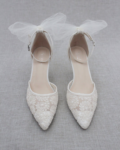 IVORY Crochet Lace Pointy Toe HEELS with TULLE BACK BOW