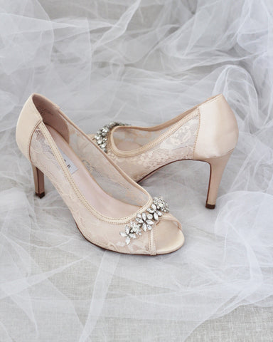 CHAMPAGNE New Lace Peep Toe Heel with Rhinestone Embellishment