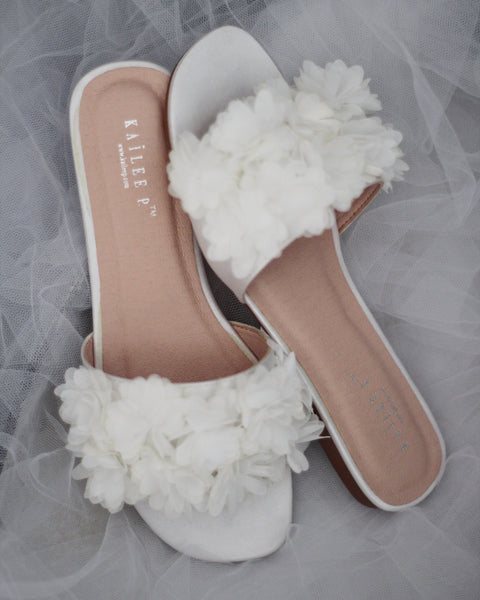IVORY SATIN Slide Sandals with Allover Chiffon Flowers