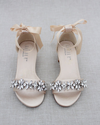 Champagne Satin Block Heel Sandals with FLORAL RHINESTONES on Upper Strap