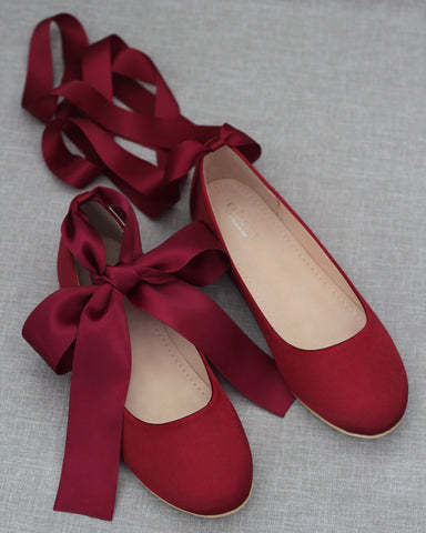 BURGUNDY Satin Round Toe Flats with Satin Ankle Tie or Ballerina Lace Up