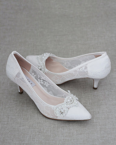 WHITE NEW LACE Pointy toe Kitten Heels with Pearls Applique