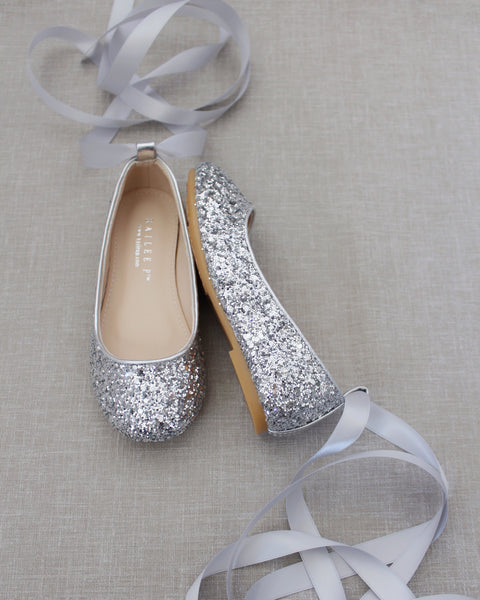 SILVER Rock Glitter Ballet Flats With Satin Ankle Strap