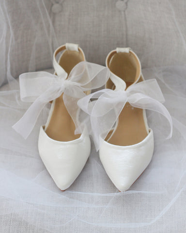 IVORY SATIN Pointy Toe Flats with Chiffon Ankle Strap
