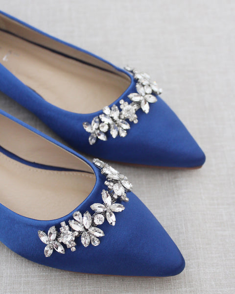 ROYAL BLUE Satin Pointy Toe Flats with FLORAL RHINESTONES Embellishments