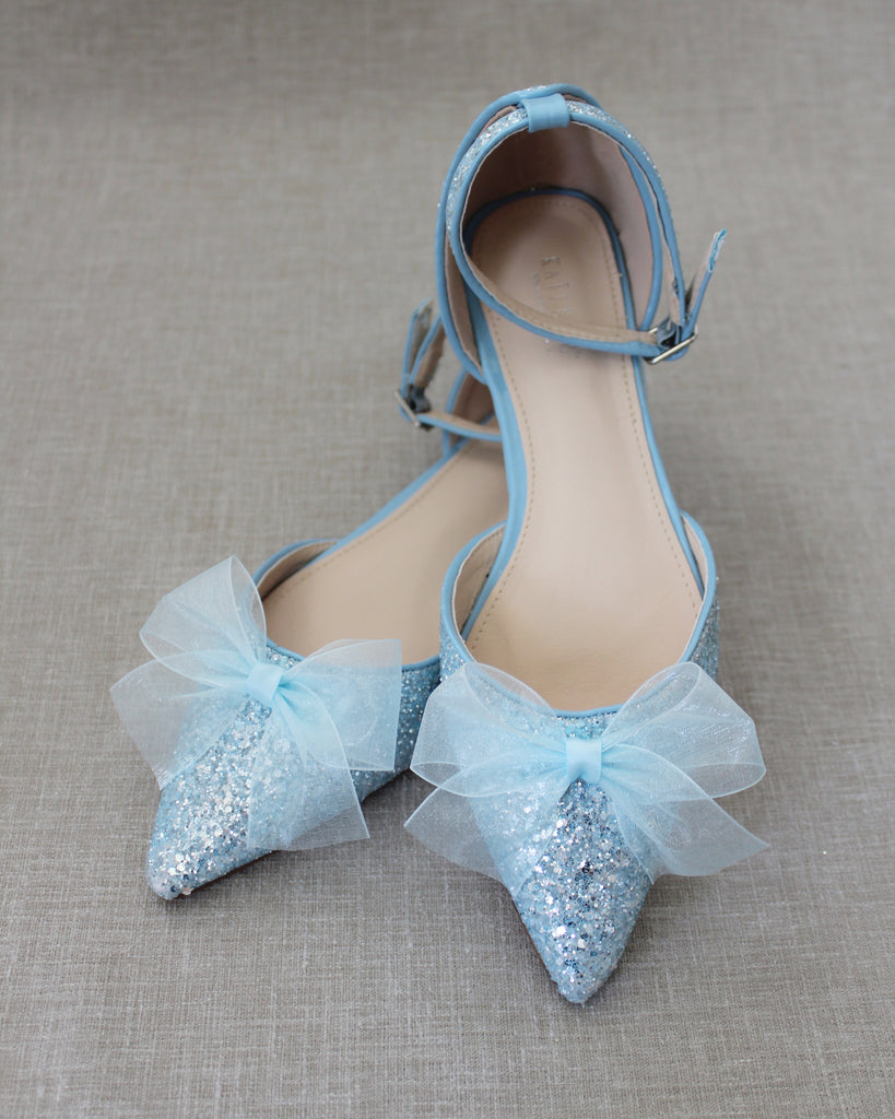 Light Blue Rock Glitter Pointy Toe Flats with Ankle Strap & ORGANZA BOW
