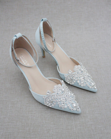 LIGHT BLUE Satin Pointy Toe HEELS with Oversized Rhinestones Applique