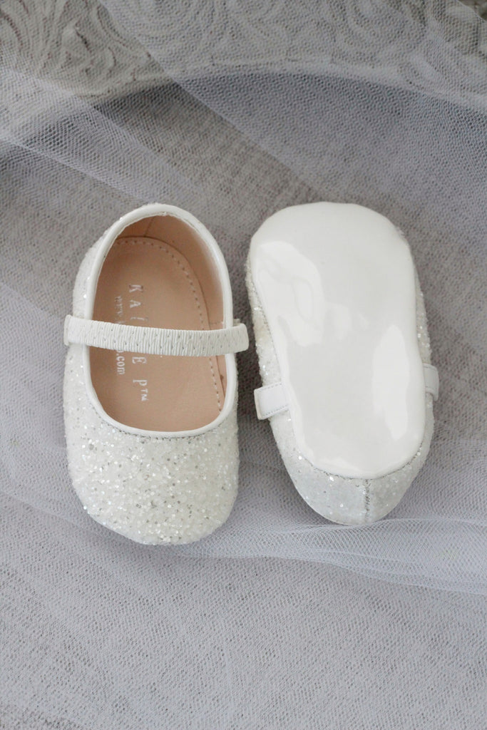 OFF WHITE Rock Glitter Mary Jane Ballet Flats, Flower Girl Shoes, Holiday Shoes, Party Shoes