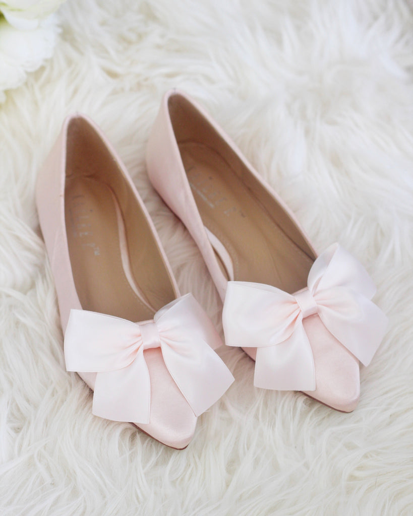 DUSTY PINK Satin Pointy Toe Flats with