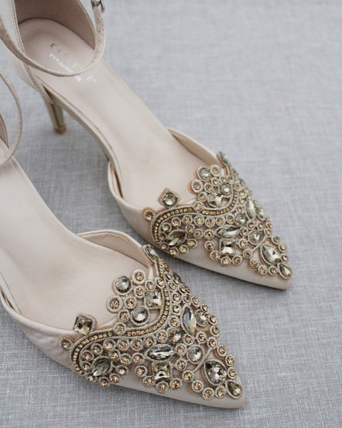 CHAMPAGNE Satin Pointy Toe HEELS with Oversized Rhinestones Applique