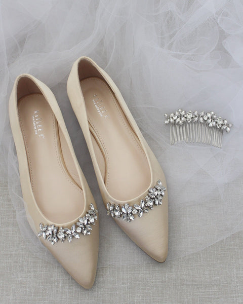 CHAMPAGNE Satin Pointy Toe Flats with FLORAL RHINESTONES Embellishments