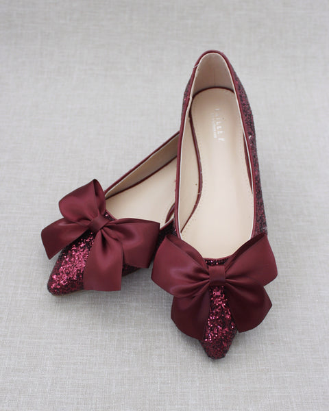 BURGUNDY Rock Glitter Pointy Toe Flats with Oversized Satin Bow