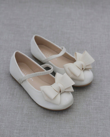 IVORY Satin Maryjane Flats with Grosgrain Bow
