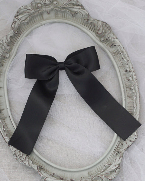 SATIN Long Tail Bow Hair Clips
