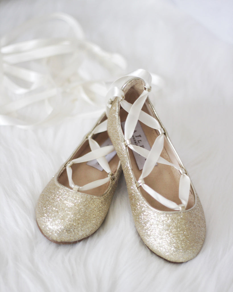 01919af8a Infant   Toddler girl shoes -SOFT GOLD fine glitter ballerina flats ...