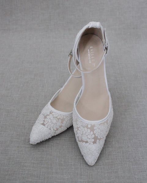WHITE Crochet Lace Pointy Toe HEELS with Ankle Strap