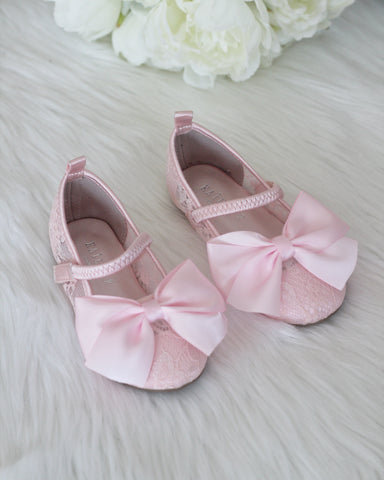 Girls Shoes - PINK New Lace Flats With Satin Bow ,Kids Shoes- Kailee P