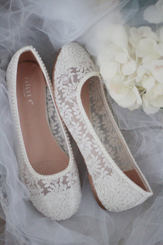 Ivory Crochet Lace Flats with Mini Pearls