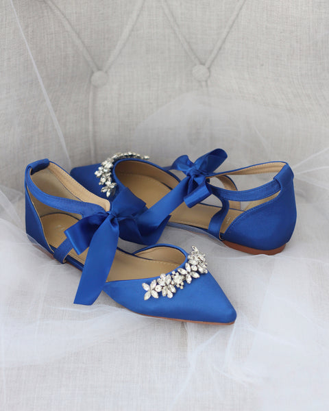 blue satin shoes with rhinestones