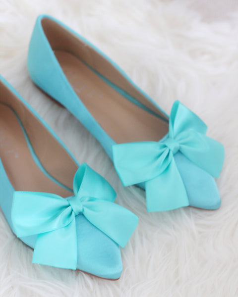 TEAL BLUE Satin Pointy Toe Flats with Oversized Bow