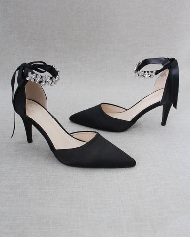 BLACK Satin Pointy Toe HEELS with FLORAL RHINESTONES Ankle Strap