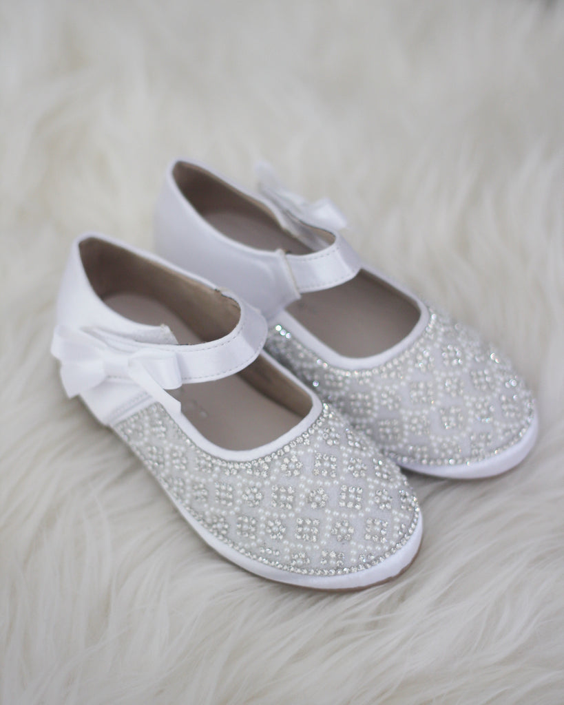 WHITE Satin Maryjane Flats With Rhinestones & Pearls Embellishment