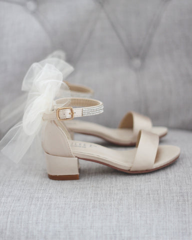 CHAMPAGNE SATIN Block Heel Sandals with Tulle Bow