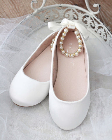 OFF WHITE Satin Flats with Pearls Ankle Strap