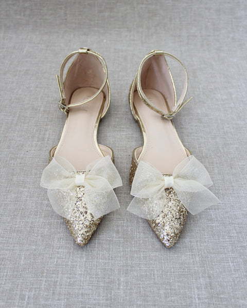 Gold Rock Glitter Pointy Toe Flats with Ankle Strap & ORGANZA BOW
