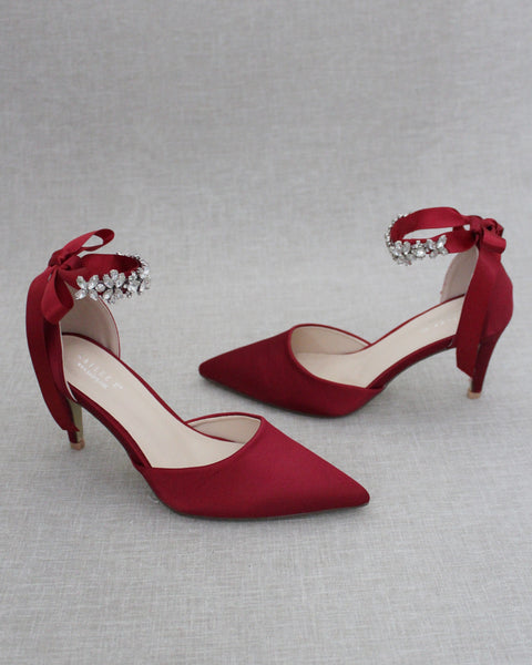 BURGUNDY Satin Pointy Toe HEELS with FLORAL RHINESTONES Ankle Strap