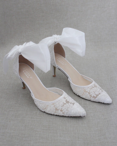 WHITE Crochet Lace Pointy Toe HEELS with SATIN TIE