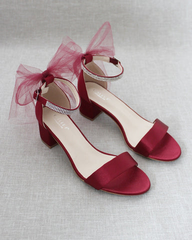 Burgundy Satin Block Heel Sandals with TULLE BACK BOW