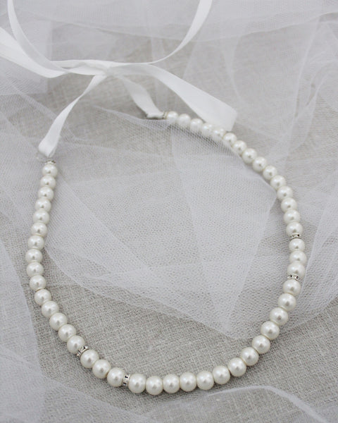 Classic All Pearls Headpiece with SILVER Beads