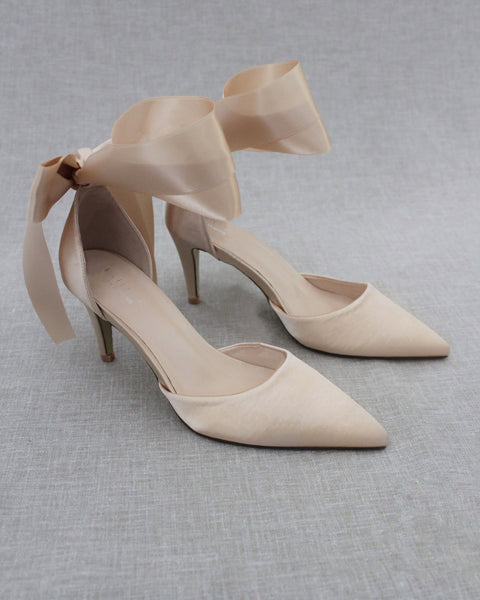CHAMPAGNE Satin Pointy Toe HEELS with SATIN TIE