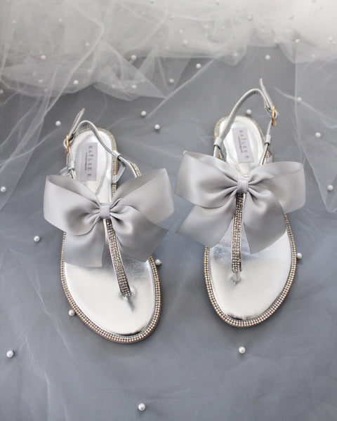 SILVER Metallic T-Strap Rhinestones Flat Sandals with Oversized Satin Bow