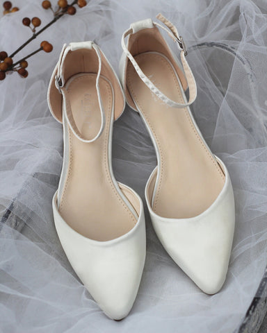 IVORY Satin Pointy Toe Flats with Ankle Strap