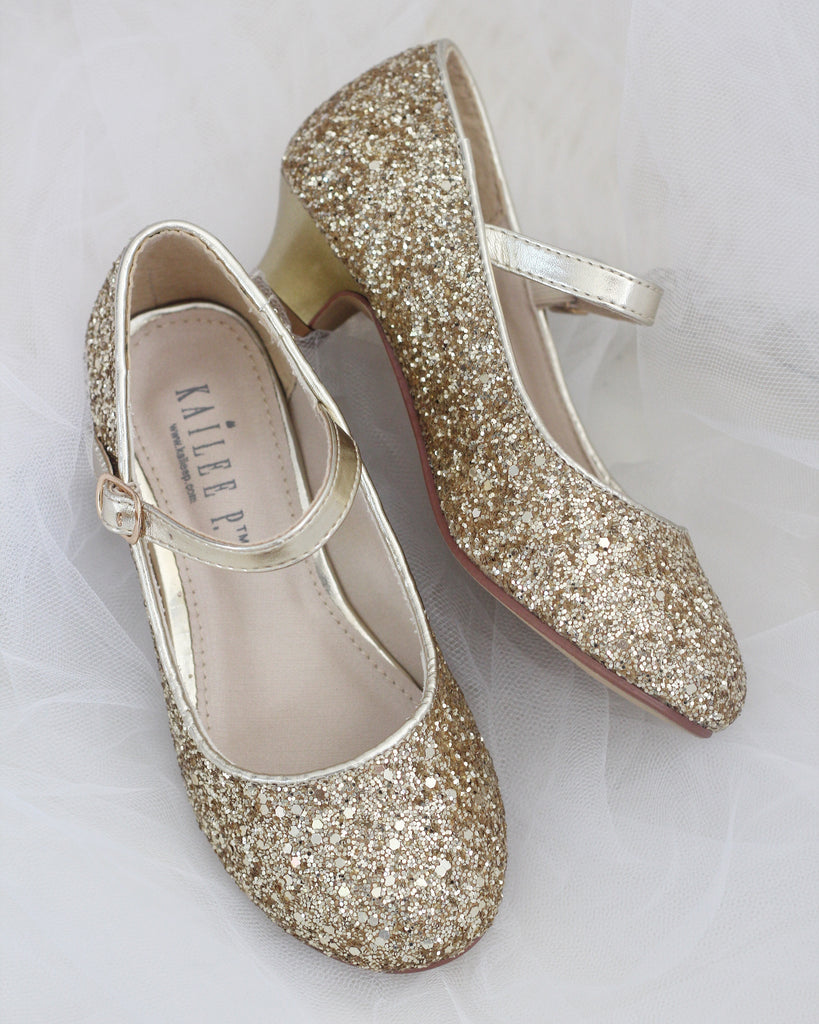 d7be2d018a2 GOLD Rock Glitter Maryjane Heels