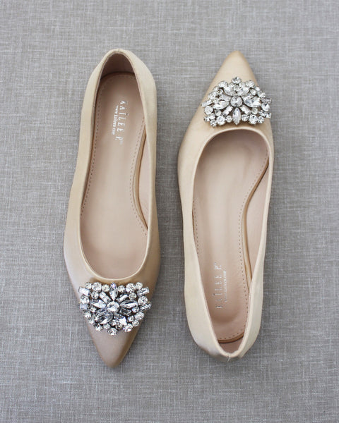 CHAMPAGNE Pointy Toe Satin Flats with Oversized BROOCH