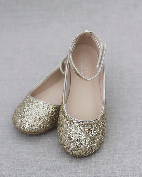 GOLD Rock Glitter Ballet Flats With Velcro Ankle Strap