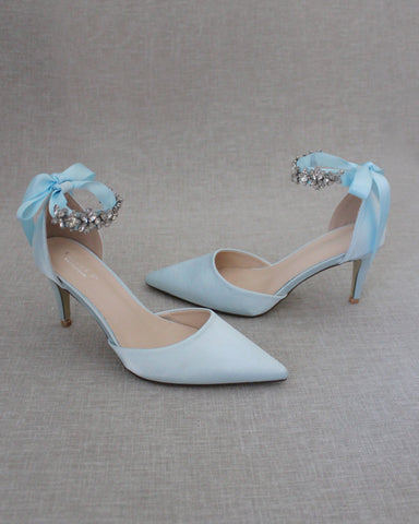 LIGHT BLUE Satin Pointy Toe HEELS with FLORAL RHINESTONES Ankle Strap