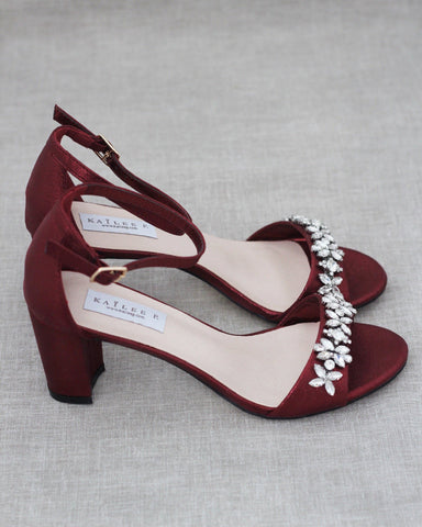 WINE Shimmer Low Block Heel Sandals with Embellished Rhinestones