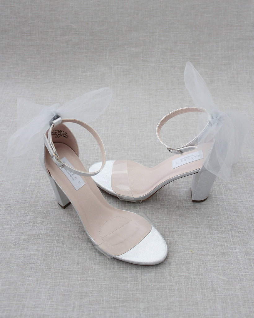 Lucite SILVER Shimmer Block Heel Sandals with BACK TULLE BOW